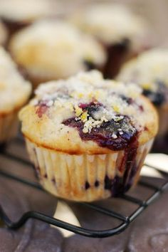 Double Blueberry Muffins with Citrus-Sugar ~ the combination of fresh blueberries, blueberry preserves, and a sprinkling of citrus-sugar make these muffins extra delicious!   www.thekitchenismyplayground.com