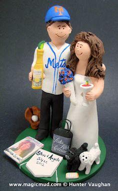 mets fan wedding cake topper    $235 #mets#baseball##wedding #cake #toppers #pilot #airplane #custom #personalized #Groom #bride #anniversary #birthday#wedding_cake_toppers#cake_toppers#figurine#gift