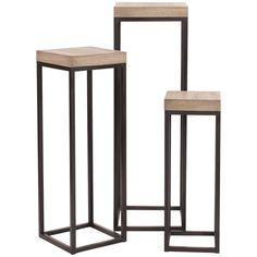 Howard Elliott Wood and Metal Pedestals Set of 3