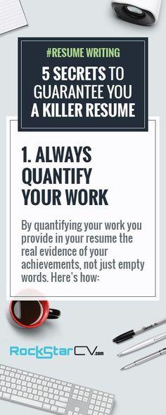 Career infographic : Resume Writing: 5 Secrets to Guarantee You A Killer Resume