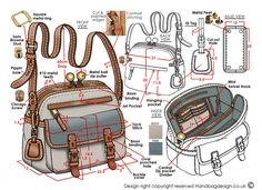 Handbag design sketch drawing / hand rendered
