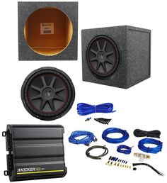 "Kicker 43CVR124 COMPVR 12"" 800W Subwoofer+Sealed Box+Kicker Amplifier+Amp Kit. Kicker 43CVR124 12"" 800 Watt Dual Voice Coil 4-Ohm Car Stereo Subwoofers. Injection molded SoloKon cone. Kicker CX300.1 CX 300 Watt RMS Mono Block Class D Car Audio Amplifier. Rockville RWK81 8 Gauge 2 Channel Car Amplifier Wiring Installation Kit. Rockville RS12 Single 12"" Sealed Subwoofer Enclosure."