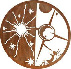 "Metal Wall Art:Southwestern - Metal Wall Art ~ 18"" Kokopelli Sun Moon"