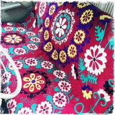 """""""Red and Yellow Frangipani"""" - Honorooroo Lifestyle Old Vintage Cars, Wool Thread, A Hook, Retro Cars, Chain Stitch, Beautiful Hands, Folk Art, Textiles, Kids Rugs"""