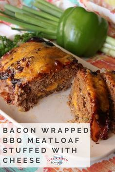 Well, this certainly isn't a boring meatloaf. There are so many layers of goodness and it's full of flavor. Really, anything wrapped in bacon is just on a whole other level. The cheese in the middle is an ooey, gooey surprise Bbq Meatloaf, Meatloaf Recipes, Beef Recipes, Cooking Recipes, Smoker Recipes, Cheeseburger Meatloaf, Bacon Wrapped Meatloaf, Chicken Meatloaf, Hamburger Recipes