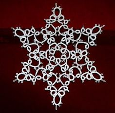 Susanne Schwenke's pattern on page 18 of her Spitzen Ideen book. I am tempted to get more of her books. Snowflake Craft, Crochet Snowflakes, Snowflake Pattern, Shuttle Tatting Patterns, Needle Tatting Patterns, Tatting Jewelry, Tatting Lace, Christmas Crochet Patterns, Christmas Sewing