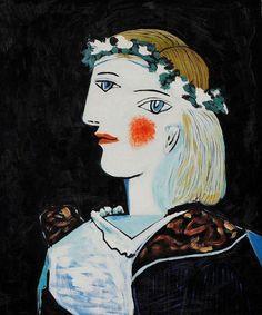 "aizobnomragym: "" Pablo Picasso ""Portrait of Marie-hérèse Walter with Garland"" """