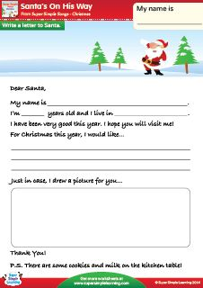 """""""Santa's On His Way"""" Write a Letter To Santa Christmas Worksheet from Super Simple Learning. #kindergarten #earlyelementary #ESL"""