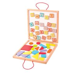 Here's a fantastic, self contained case that caters for every learning opportunity -they can get creative playing with brightly coloured wooden shapes, or learn basic arithmetic skills with all the different numbers and symbols. Enthused by one set of magnets, they then can be encouraged to progress to the other!  Complete with a sturdy carry case that also features a blackboard on the outside. Ages 3 years and up. COMING SOON!