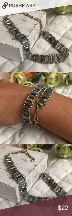 Crystal beading & Metal Wrap Bracelet/Choker Combo Intricately designed, our Blue Crystal beading and Metal Wrap Bracelet/Choker Combo allows you to wear it TWO ways!  Boutique pricing is firm Jewelry Bracelets