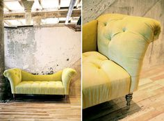 Fainting Sofa in a chartreuse velvet. Pairing the blonde floors and industrial chic walls knock down a bit of the formality of the sofa.