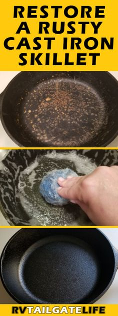 How to Restore a Rusty Cast Iron Skillet Don't throw away that rusty cast iron skillet! Find out how to remove the rust and season the skillet to keep using it for years to come! Rusted Cast Iron Skillet, Cast Iron Pot, It Cast, House Cleaning Tips, Cleaning Hacks, Kitchen Cleaning, Deep Cleaning, Kitchen Hacks, Cleaning Cast Iron Pans