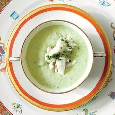 At her popular Los Angeles dinner parties, my good friend Suzanne Rheinstein, an interior designer and New Orleans native, often serves a first course New Orleans Recipes, New Recipes, Summer Recipes, Cooking Recipes, Favorite Recipes, Green Goddess, Crab Meat, Dinner Dishes, Soups