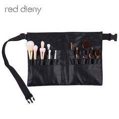 1pc Professional Pvc Makeup Brushes Apron Bag Artist Belt Strap Black 28 Pockets Make Up Brush Holder Cosmetic Tools Organizer A Wide Selection Of Colours And Designs Eye Shadow Applicator Beauty & Health