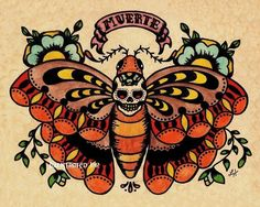 Butterfly with skull. Muerte.