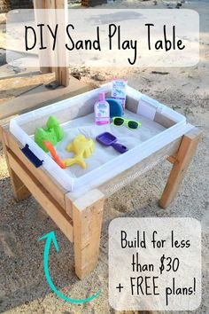 in the Sun and Sand: DIY Sand Play Table Bring the beach to your yard this summer with this easy DIY sand table! the beach to your yard this summer with this easy DIY sand table! Kids Outdoor Play, Outdoor Play Areas, Backyard For Kids, Diy For Kids, Outdoor Games, Outdoor Fun, Backyard Playset, Backyard Playground, Backyard Games