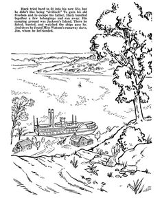 huckleberry finn coloring pages huck decided to run away and live on an island huckleberry finnkids storiesmark twaincoloring