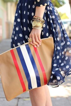 Love this... the stripes, the polka dots, the jewelry... #clutch #stripe #fashion #style #jewelry #bracelets #dress #blue #navy #polka #dots