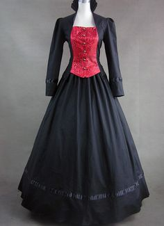 Black and Red Long Sleeves Gothic Victorian Dress on www.ueelly.com Victorian  Dresses 43130d4b6b52