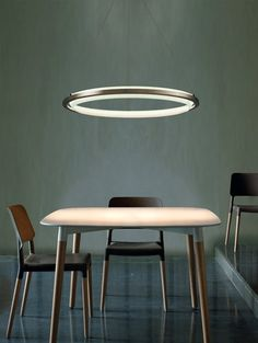 A delicate, floating circle of light, the Nimba LED Suspension Light combines simplicity with advanced technology and high-efficiency. A stainless steel ri