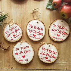 Teacher Ornaments Stocking tags Hand Painted Mini 2 - 3 // You Choose The Text // to teach is to love hand painted ornament Love making these teacher ornaments! Thanks for shopping small! Hand Painted Ornaments, Wooden Ornaments, Personalized Christmas Ornaments, Diy Christmas Ornaments, Christmas Decorations, Teacher Ornaments, Teacher Christmas Gifts, Preschool Christmas, Christmas Activities