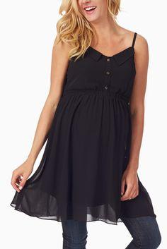 Black-Chiffon-Maternity-Tank-Top #maternity #fashion