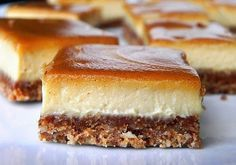 SCD Cinnamon Swirl Caramel Cheesecake Bars (*Substitute honey for maple syrup / coconut nectar & use SCD yogurt. Greek Sweets, Greek Desserts, Köstliche Desserts, Sweets Recipes, Raw Food Recipes, Food Network Recipes, Delicious Desserts, Yummy Food, Caramel Cheesecake