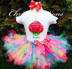 Neon--Baby Girl 1st Birthday Petti Tutu Set--Birthday Outfit--3D Cupcake--Photo Prop--Polka Dots