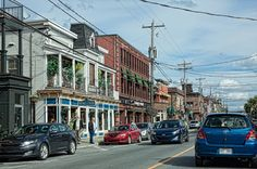 Magog, Quebec - Historic buildings and cars on the main street in the city of Magog, Quebec Canada