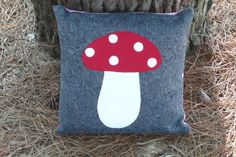 Appliqued cushion cover Toadstool pillow cover by TommysSister, $26.00