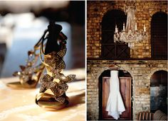 modern urban wedding: gold crystal shoes and exposed brick