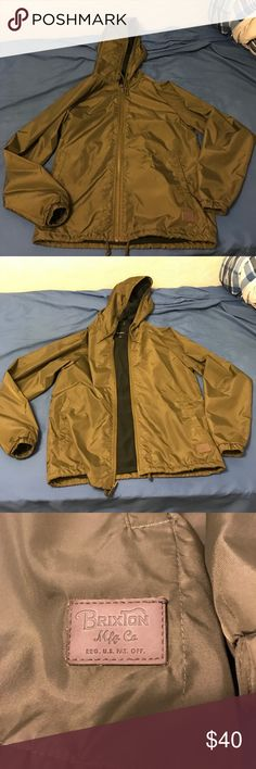 Brixton Claxton Olive Hooded Windbreaker Jacket Worn it a couple of times but doesn't fit anymore Brixton Jackets & Coats Windbreakers