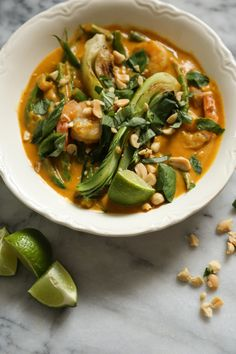 Thai Pumpkin Curry Recipe with Shrimp and Bok Choy | Spicy Pumpkin Red Curry Sauce | Gluten-Free!