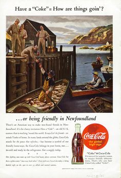 """Wyeth (1882-1945) Have a """"Coke"""" = How are things goin'? . . . (advertisement for Coca-Cola) 1944 Oil on canvas, 28 x 32 in. (71.1 x 81.2 cm) The Coca-Cola Company Archives Used by permission, Courtesy of The Coca-Cola Company Archives"""