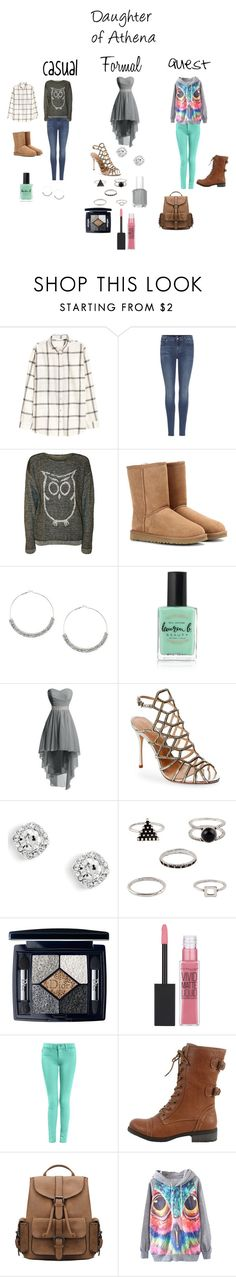"""""""A Daughter of Athena"""" by a-fangirl-mrc on Polyvore featuring H&M, 7 For All Mankind, WearAll, UGG Australia, Lauren B. Beauty, Schutz, Christian Dior, Maybelline and Wild Diva"""