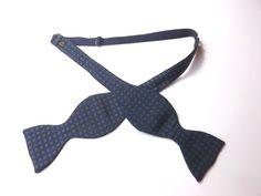 VINTAGE SILK BOW TIE Self Tie Adjustable Dark Blue with Green Pattern FREE P&P #BowTie