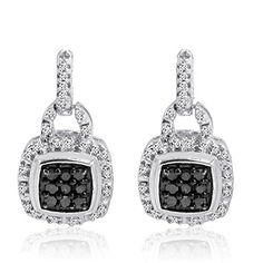 Black and White Diamond Square Shape Dangle Earrings in Sterling Silver available at joyfulcrown.com.