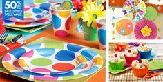multi color polka dot tablecloths for birthday party   polka dot party supplies make a splash with cabana polka dot party ...