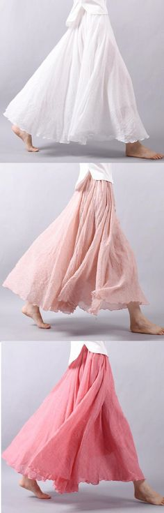 15 Colors Cotton&Linen Casual Solid Elastic A-line Skirts – Casual Outfit – Casual Summer Outfits Look Fashion, Skirt Fashion, Fashion Dresses, Ropa On Line, Vestidos Retro, Mode Boho, Rock Design, Estilo Boho, Mode Outfits