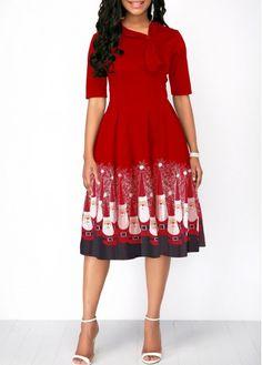 749d3c6201 Christmas Print Bowknot Detail Pocket A Line Dress