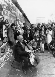 L Emmett Lewis Jr_ Rostropovich as he plays bach next to the Berlin Wall Nov 12 1989