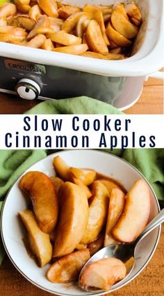 These warm cinnamon spiced apples are made in the slow cooker for a perfect fall side dish. You could also spoon them over ice cream, pancakes, oatmeal and more. Because they are made in a slow cooker, you basically set it and forget it. They are going to disappear quickly so be sure to make plenty!