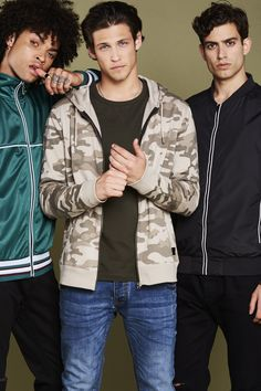 Whispering Smith - Pure London Man Concept 3 men's zipped hoddies/jackets in emerald green, camouflage and black by Whispering Smith Whispering Smith, Olympia London, Aw17, Emerald Green, Camouflage, Fashion Brands, Bomber Jacket, Menswear, Concept