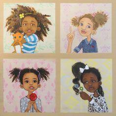 The multi-shades of Afro Princesses Black Girl Art, Black Women Art, Black Girls Rock, Art Girl, Black Child, African American Art, African Art, Natural Hair Art, Natural Hair Styles