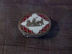 Vintage Metal Trinket Box, Oval Trinket Box, Red Velvet Lined Filigree Metal Trinket/ Jewelry Box