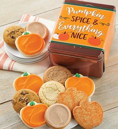 This fall, send a cookie gift to all of your friends. Cheryl's fall-themed cookies and treats are the sweetest way to send a message during the autumn season. Fall Decorated Cookies, Fall Cookies, Cut Out Cookies, Tin Gifts, Cookie Gifts, Cookie Frosting, Buttercream Frosting, Autumn Decorating, Cookie Decorating