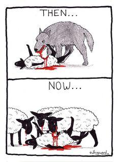 sheep, not wolves, eating sheep.