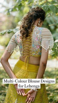 Party Wear Indian Dresses, Dress Indian Style, Indian Fashion Dresses, Indian Designer Outfits, Indian Outfits, Wedding Dresses, Half Saree Designs, Fancy Blouse Designs, Lehenga Designs