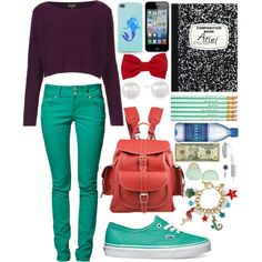 Ariel Goes to School: Fall Edition by haterzbelike, via Polyvore Modern Disney Outfits, Disneybound, Ariel, Disney Princess, School, Fall, Polyvore, How To Wear, Clothes