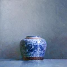 """Ning Lee - """"Blue and White"""" 30"""" x 30"""" Oil on Linen 2013"""